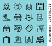 outline commerce icon set such... | Shutterstock .eps vector #1086401711