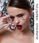beauty model woman with long... | Shutterstock . vector #1086407141