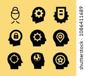 filled set of 9 head icons such ... | Shutterstock .eps vector #1086411689
