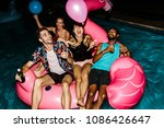 multi ethnic friends having fun ... | Shutterstock . vector #1086426647