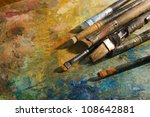 Oil Paints And Paint Brushes O...