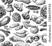 pattern of the various drawn... | Shutterstock .eps vector #1086439934