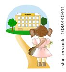 the schoolgirl is standing on... | Shutterstock .eps vector #1086440441
