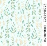 seamless vector herbal pattern... | Shutterstock .eps vector #1086445727