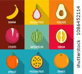 fruit nutrition icons set. flat ... | Shutterstock . vector #1086452114
