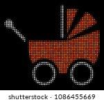 baby carriage halftone vector... | Shutterstock .eps vector #1086455669