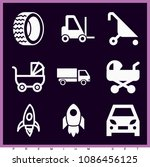set of 9 transport filled icons ... | Shutterstock .eps vector #1086456125