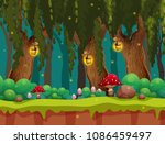 fairytale forest and lamp at... | Shutterstock .eps vector #1086459497