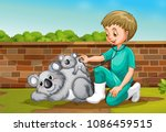 a vet taking care of coala... | Shutterstock .eps vector #1086459515