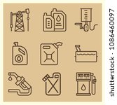set of 9 petrol outline icons... | Shutterstock .eps vector #1086460097