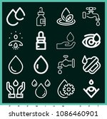set of 16 drop outline icons...   Shutterstock .eps vector #1086460901