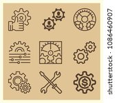 set of 9 configuration outline... | Shutterstock .eps vector #1086460907