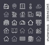 set of 25 home outline icons... | Shutterstock .eps vector #1086461045