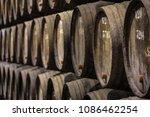 row of wooden porto wine... | Shutterstock . vector #1086462254
