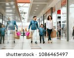 family shopping. happy people... | Shutterstock . vector #1086465497