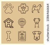 set of 9 dog outline icons such ... | Shutterstock .eps vector #1086466664