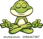 meditating cartoon frog in... | Shutterstock .eps vector #1086467387