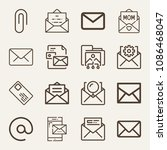 set of 16 email outline icons...   Shutterstock .eps vector #1086468047