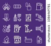 set of 16 fuel outline icons... | Shutterstock .eps vector #1086469781