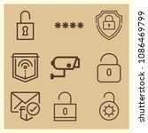 set of 9 secure outline icons... | Shutterstock .eps vector #1086469799