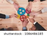 business team connect pieces of ... | Shutterstock . vector #1086486185