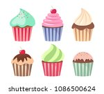 cartoon cupcake set. colorful... | Shutterstock .eps vector #1086500624