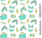 seamless summer pattern with... | Shutterstock .eps vector #1086502871