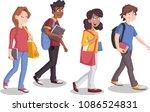 teenagers students walking.... | Shutterstock .eps vector #1086524831