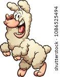 happy cartoon lama. vector clip ... | Shutterstock .eps vector #1086525494