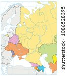 eastern europe political map... | Shutterstock .eps vector #1086528395