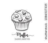 vector hand drawn muffin icons. ... | Shutterstock .eps vector #1086537335
