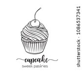 vector hand drawn cupcake icon. ... | Shutterstock .eps vector #1086537341