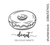 vector hand drawn donut icon in ... | Shutterstock .eps vector #1086537431