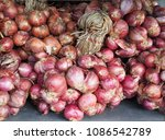 shallots are small round ... | Shutterstock . vector #1086542789