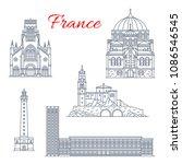 france famous travel landmark... | Shutterstock .eps vector #1086546545