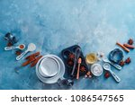 porcelain baking forms and... | Shutterstock . vector #1086547565