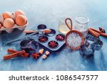 baking utensils header. muffin... | Shutterstock . vector #1086547577