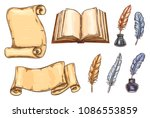 old vintage books and... | Shutterstock .eps vector #1086553859