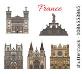 france famous travel landmark... | Shutterstock .eps vector #1086553865