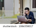 young asian freelancer  student ...   Shutterstock . vector #1086558017