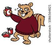 cartoon drunk squirrel character | Shutterstock .eps vector #1086564821