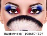 patriotic young woman wearing... | Shutterstock . vector #1086574829