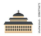 tall church icon. flat... | Shutterstock .eps vector #1086576671