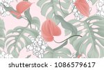 floral seamless pattern  red... | Shutterstock .eps vector #1086579617