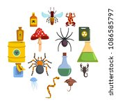 poison danger toxic icons set.... | Shutterstock .eps vector #1086585797