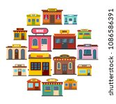 store facade front shop icons...   Shutterstock .eps vector #1086586391