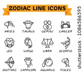 zodiac signs in thin line style ... | Shutterstock .eps vector #1086586595