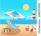 summer beach umbrella chair... | Shutterstock .eps vector #1086593981