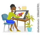 a black woman graphic designer...   Shutterstock .eps vector #1086601901