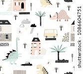 cartoon city with dinosaurs... | Shutterstock .eps vector #1086604751